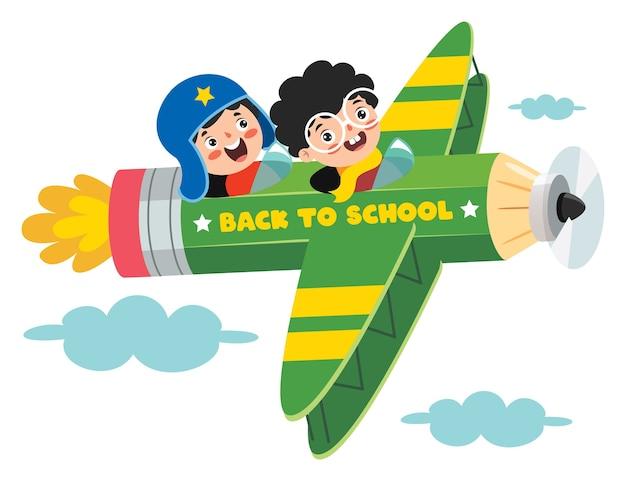 Grappige jongen vliegen op kleurrijke potlood