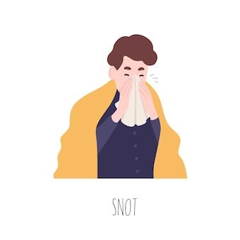 Grappige jongen zijn neus snuiten of niezen. schattige jonge man die lijdt aan koorts, rhinitis of coryza