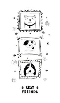 Grappige kaart met schattige gezichtshonden en belettering beste vrienden!