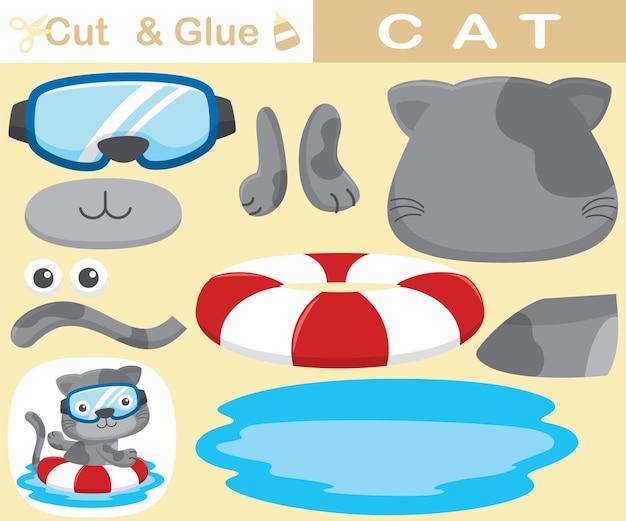 Grappige kat die duikglas draagt dat met reddingsboei zwemt. educatief papieren spel voor kinderen. uitknippen en lijmen. cartoon illustratie
