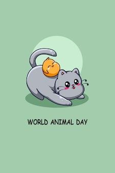 Grappige kat en eend in cartoonillustratie van werelddierendag