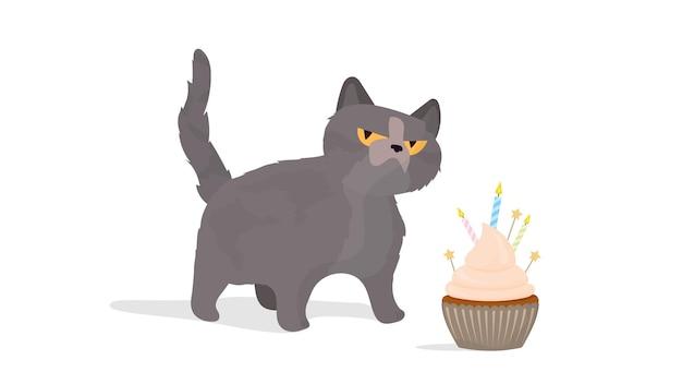Grappige kat houdt een feestelijke cupcake. snoepjes met room, muffin, feestelijk dessert, zoetwaren. goed voor kaarten, t-shirts en stickers. platte stijl. vector.