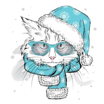 Grappige kat in een kerstmuts en sjaal. vector illustratie.