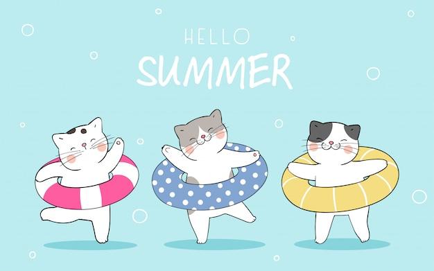 Grappige kat met kleurrijke rubberen ring voor de zomer.