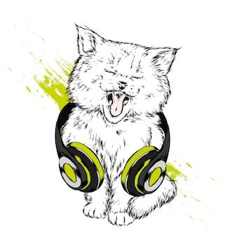 Grappige kat met koptelefoon
