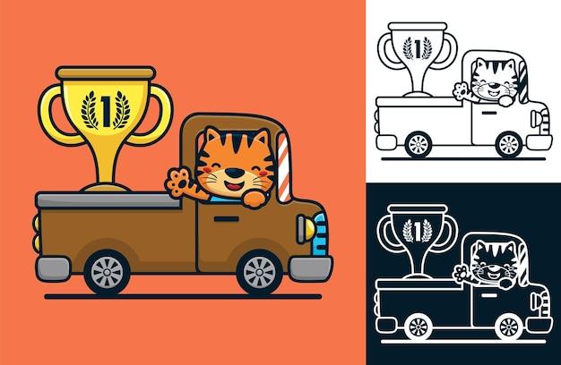 Grappige kat op vrachtwagen met grote trofee. vectorbeeldverhaalillustratie in vlakke pictogramstijl