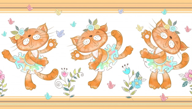 Grappige katten dansen naadloze grens