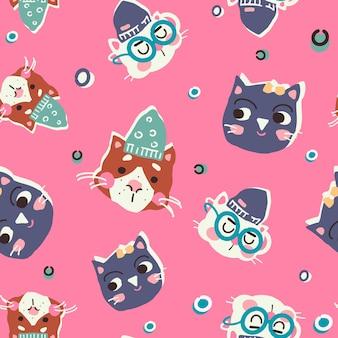Grappige katten in hoeden naadloos patroon