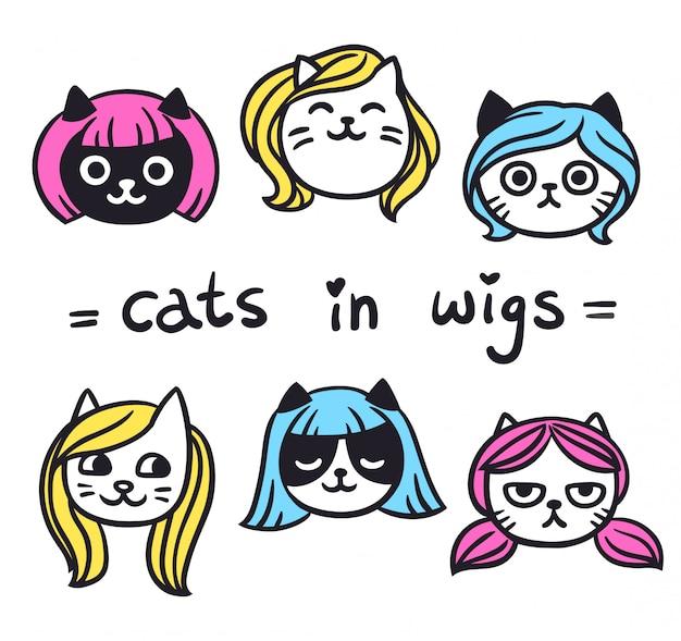 Grappige katten in pruiken