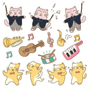 Grappige katten met muziekinstrument