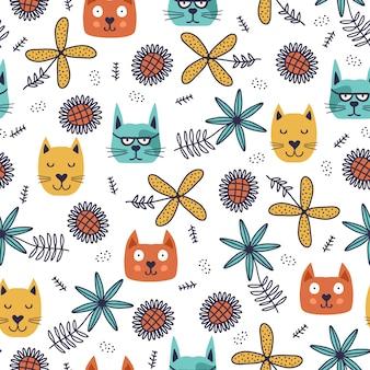 Grappige katten naadloze patroon met bloementekeningen