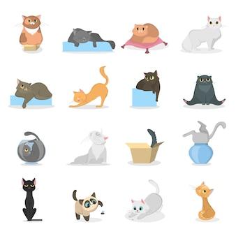 Grappige katten set. beeldverhaalhuisdieren die plsying en op wit slapen.