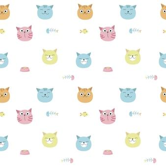 Grappige katten vector naadloze patroon. creatief ontwerp voor stof, textiel, behang, inpakpapier met kattenhoofden, voedsel voor huisdieren, vissen.