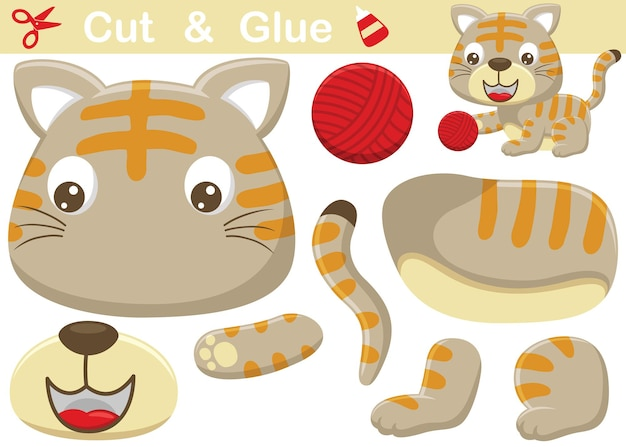 Grappige kattencartoon die garenbal speelt. onderwijs papier spel voor kinderen. uitknippen en lijmen