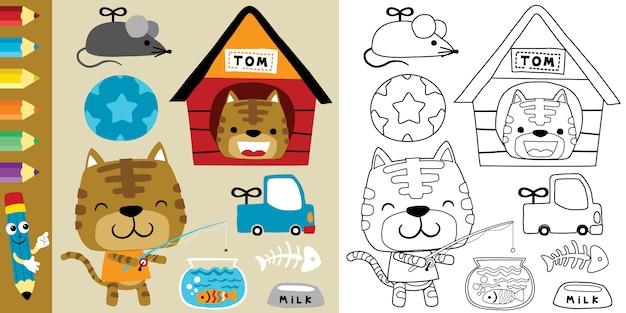 Grappige kattencartoon met zijn speelgoed