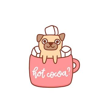 Grappige kawaii pug dog in een mok cacao met marshmallows