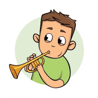 Grappige kerel trompet spelen. icoon. vlakke afbeelding. op witte achtergrond.