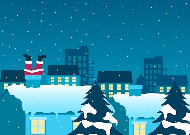 Grappige kerst cartoon van de kerstman geplakt op schoorsteen