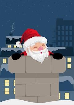 Grappige kerst cartoon van de kerstman komt uit de schoorsteen