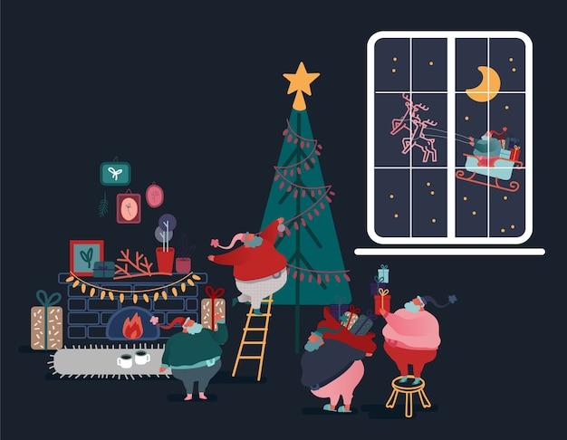 Grappige kerst kerstman in vlakke stijl. set van santa kerstboom versieren, cadeautjes geven, geschenken voorbereiden, slee rijden. feestelijke karakters voor kerstkaart, ontwerp, papier.