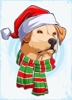 Grappige kerst labrador hond hoofd met kerstman muts en sjaal xmas labrador hond