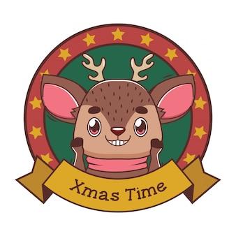 Grappige kerstgroet met cartoon rendieren
