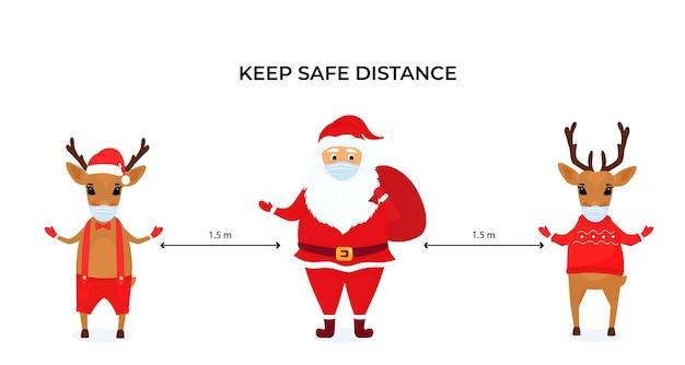 Grappige kerstherten en de kerstman dragen beschermende gezichtsmaskers. houd sociale afstand. preventieve maatregelen tijdens de coronavirus pandemie coivd-19.