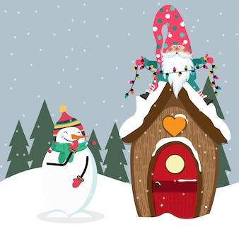 Grappige kerstkaart met gome en sneeuwman