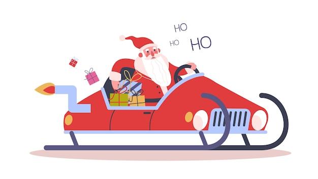Grappige kerstman die een autoslee drijft. kerstkarakter met cadeau rijden in de sneeuw. winter vakantie feest. kerstkaart achtergrond. illustratie