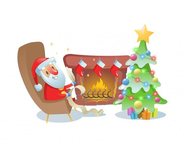 Grappige kerstman die een brief schrijft bij de open haard onder de kerstboom. illustratie. op witte achtergrond.