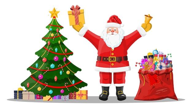 Grappige kerstman karakter en kerstboom