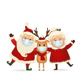 Grappige kerstman met schattige mevrouw claus