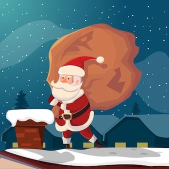 Grappige kerstman op dak illustratie
