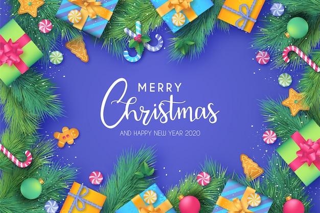 Grappige kerstmisachtergrond met leuke ornamenten