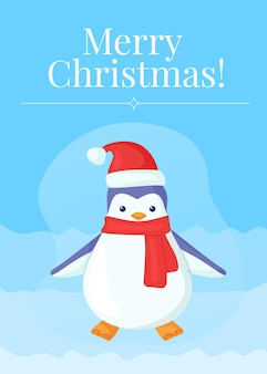 Grappige kerstpinguïn in muts en sjaal wenskaart