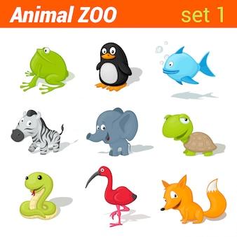 Grappige kinderen dieren icon set. elementen voor het leren van taal voor kinderen. kikker, pinguïn, vis, zebra, olifant, schildpad, slang, ibis vogel, vos.