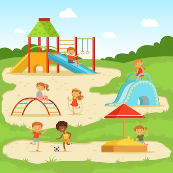 Grappige kinderen op de zomerspeelplaats. kinderen spelen in het park. vector illustratie