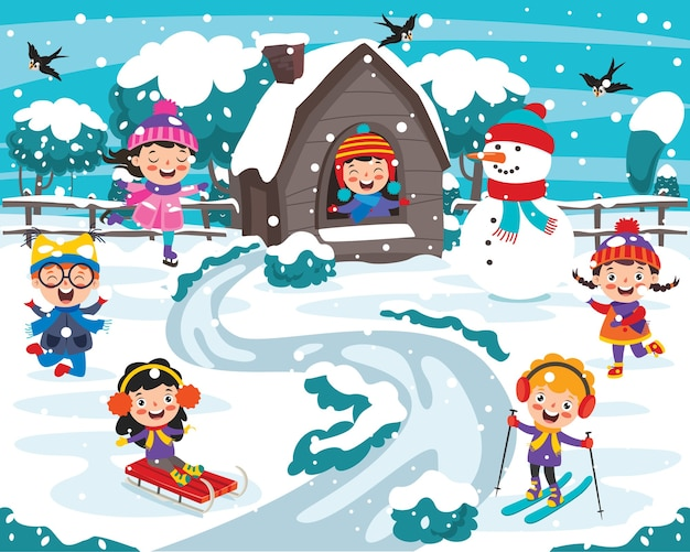 Grappige kinderen plezier op winterseizoen