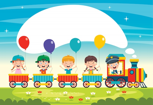 Grappige kinderen rijden op de trein