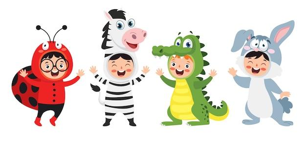 Grappige kinderen waering dierlijke kostuums