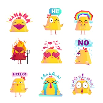Grappige kip cartoon character icons set