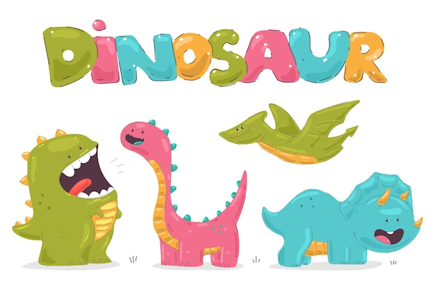 Grappige kleine dinosaurussen stripfiguren instellen Premium Vector