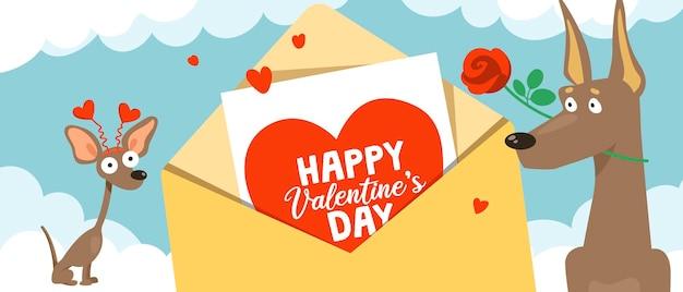 Grappige kleine en grote honden in grappige kostuums voor valentijnsdag en een envelop met een valentijnskaart