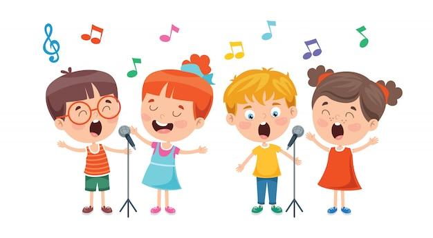 Grappige kleine kinderen muziek uitvoeren