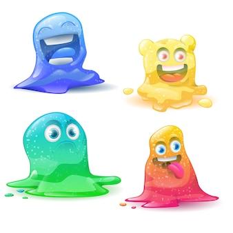 Grappige kleine schattige cartoon kleurrijke glitter set