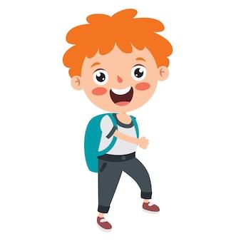 Grappige kleine school jongen karakter