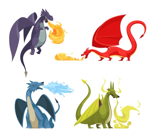 Grappige kleurrijke brand ademende draken 4 pictogrammenconcept met purper rood groenachtig blauw monstersbeeldverhaal
