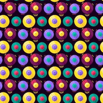 Grappige kleurrijke muzikale vinyl record vector naadloze patroon