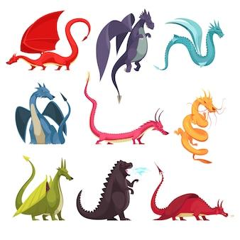Grappige kleurrijke vuurspuwende drakenmonsters rare slang zoals pictogrammen van het wezens de vlakke beeldverhaal geplaatst geïsoleerd