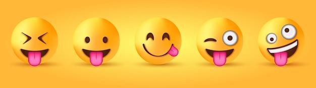 Grappige knipogende emoji met uitgestoken tong - gekke gekke emoticon - gezicht dat van heerlijk eten geniet